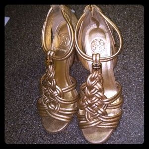 Tory Burch gold braided strappy heels 6.5